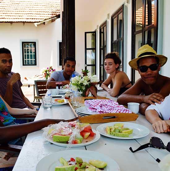 Eating on the veranda
